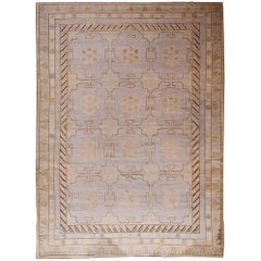 Rug & Kilim's Khotan Style Rug in Beige-Brown and Blue Gray Geometric Pattern