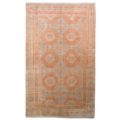 Rug & Kilim's Khotan Style Rug in Blue and Orange Geometric Pattern