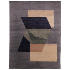 Rug & Kilim's Mid-Century Modern Geometric Beige and Black Wool and Silk Rug