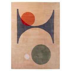 Rug & Kilim's Mid-Century Modern Geometric Beige-Brown Wool and Silk Custom Rug