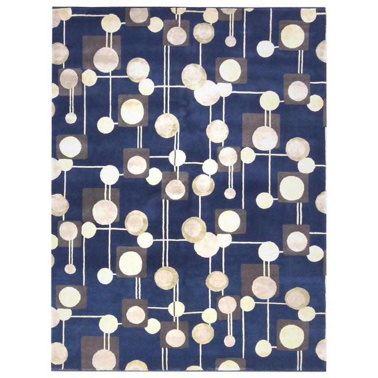 Rug & Kilim's Mid-Century Modern Geometric Beige Gray and Blue Wool Silk Rug For Sale