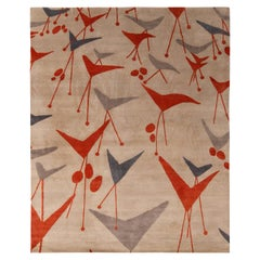 Rug & Kilim's Mid-Century Modern Geometric Beige Gray and Red Wool and Silk Rug