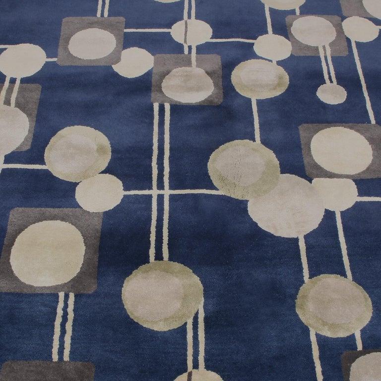 Indian Rug & Kilim's Mid-Century Modern Geometric Beige Gray and Blue Wool Silk Rug For Sale