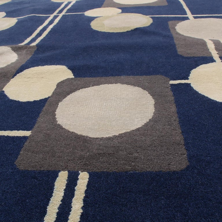 Hand-Knotted Rug & Kilim's Mid-Century Modern Geometric Beige Gray and Blue Wool Silk Rug For Sale