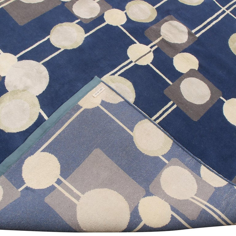 Rug & Kilim's Mid-Century Modern Geometric Beige Gray and Blue Wool Silk Rug In New Condition For Sale In Long Island City, NY