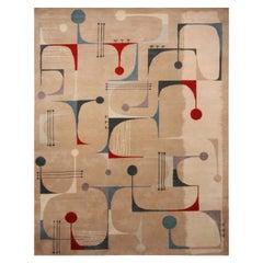 Rug & Kilim's Mid-Century Modern Geometric Beige Red and Blue Wool Custom Rug