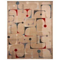 Rug & Kilim's Mid-Century Modern Geometric Beige Red and Blue Wool Custom Rug