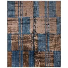 Rug & Kilim's Mid-Century Modern Geometric Brown and Blue Wool and Silk Rug