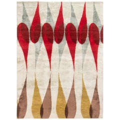 Rug & Kilim's Mid-Century Modern Geometric Off-White and Red Wool Custom Rug