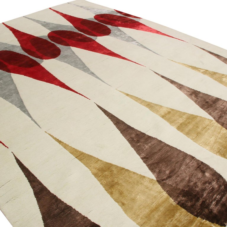 Indian Rug & Kilim's Mid-Century Modern Geometric White Brown & Red Wool and Silk Rug For Sale