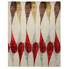 Rug & Kilim's Mid-Century Modern Geometric White Brown & Red Wool and Silk Rug