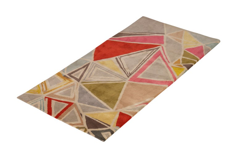 Made with hand knotted wool, this geometric run joins the latest additions to Rug & Kilim's Mid-Century Modern collection, a bold custom-capable line recapturing an underrepresented, iconic period with an entirely new approach to large scale,