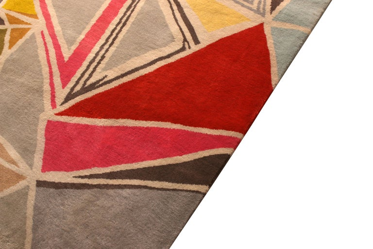 Rug & Kilim's Mid-Century Modern Rug Geometric Gray Red Wool Custom Runner In New Condition For Sale In Long Island City, NY