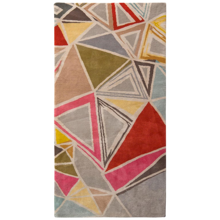 Rug & Kilim's Mid-Century Modern Rug Geometric Gray Red Wool Custom Runner For Sale
