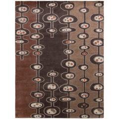 Rug & Kilim's Mid-Century Modern Rug in Beige Brown Atomic Age Pattern