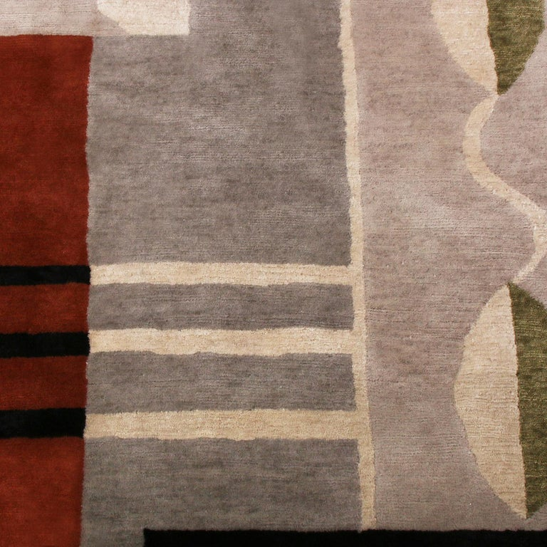 Hand knotted with semi-worsted wool, natural silk and exotic yarns, Rug & Kilim's geometric rug hails from the latest prized additions to their acclaimed Mid-Century Modern collection, a bold custom-capable line recapturing an underrepresented,
