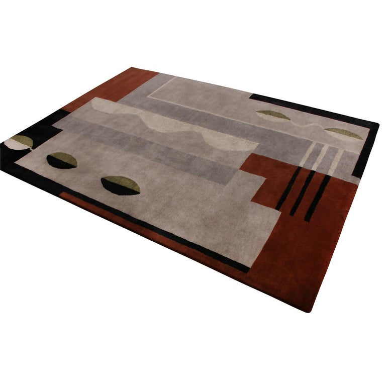 Indian Rug & Kilim's Mid-Century Modern Silver-Gray and Brown Wool and Silk Custom Rug For Sale