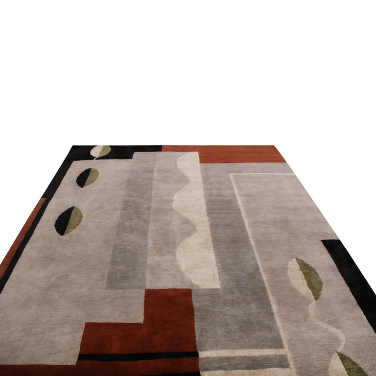 Hand-Knotted Rug & Kilim's Mid-Century Modern Silver-Gray and Brown Wool and Silk Custom Rug For Sale