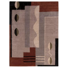Rug & Kilim's Mid-Century Modern Silver-Gray and Brown Wool and Silk Custom Rug