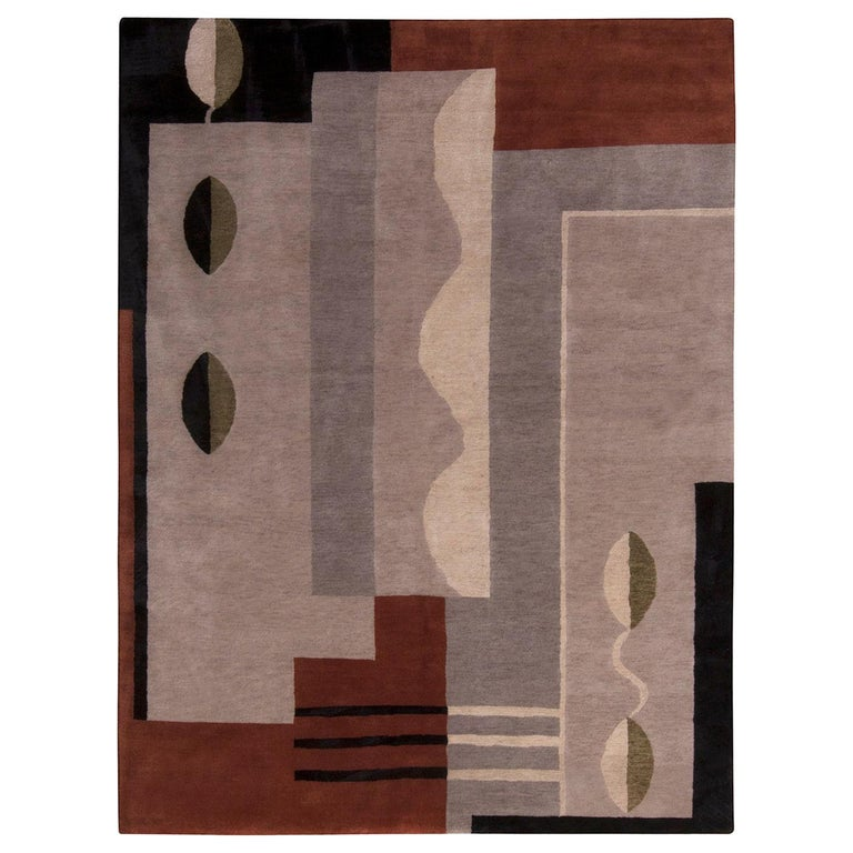 Rug & Kilim's Mid-Century Modern Silver-Gray and Brown Wool and Silk Custom Rug For Sale