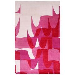 Rug & Kilim's Mid-Century Modern Style Geometric Cream/Pink Wool and Silk Rug