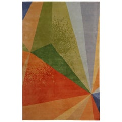 Rug & Kilim's Mid-Century Modern Style Geometric Multicolor Wool and Silk Custom