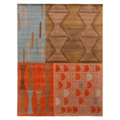 Rug & Kilim's Mid-Century Modern Style Rug in Beige-Brown and Red Retro Pattern