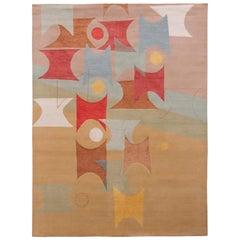 Rug & Kilim's Mid-Century Modern Style Rug in Beige-Brown Geometric Pattern