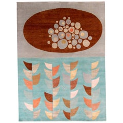 Rug & Kilim's Mid-Century Modern Style Rug in Blue and Brown Geometric Pattern