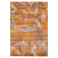 Rug & Kilim's Mid-Century Modern Style Rug in Gold Brown Geometric Pattern