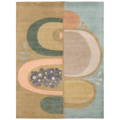 Rug & Kilim's Mid-Century Modern Style Rug in Green and Blue