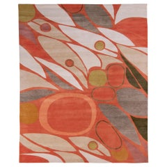 Rug & Kilim's Mid-Century Modern Style Rug in Orange and White All Over Pattern