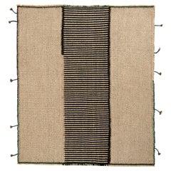Rug & Kilim's Modern Custom Kilim in Beige-Brown, Black Striped Pattern