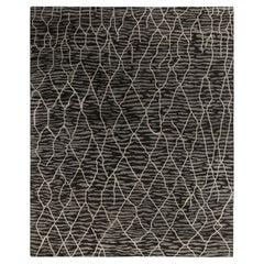 Rug & Kilim's Modern Custom Rug in Black, Gray Geometric Pattern