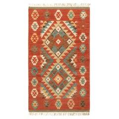 Rug & Kilim's Modern Kilim Rug in Red and Blue Geometric Pattern