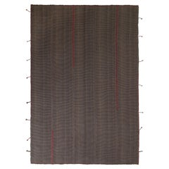 Rug & Kilim's Modern Kilim Rug in Red and Gray-Brown Striped Patterns