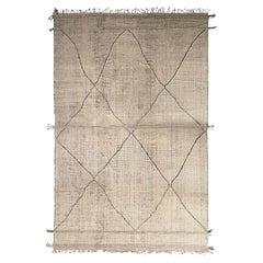 Rug & Kilim's Modern Moroccan Style Kilim in White and Black Trellis Pattern