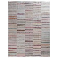 Rug & Kilim's Modern Patchwork Kilim Rug in Gray Multicolor Stripe Pattern