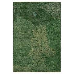 Rug & Kilim's Modern Pictorial Rug in Green Floral Pattern