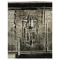 Rug & Kilim's Modern Rug in Grey, Green, Brown, Black Geometric Pattern