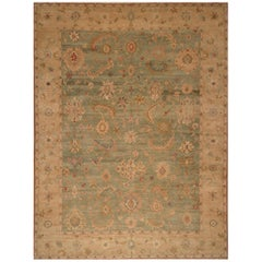 Rug & Kilim's Modern Style Sultanabad Rug in Green and Beige Floral Pattern