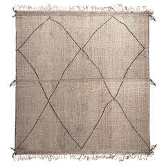 Rug & Kilim's Moroccan Berber Style Geometric White and Black Wool Rug