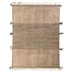 Rug & Kilim's Moroccan Kilim Rug in White and Black Striped Pattern