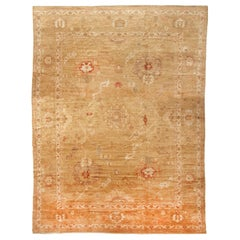 Rug & Kilim's New Oushak Design Transitional in Tan and Red Floral Rug
