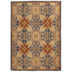 New Transitional Rug Blue and Cream 18th Century Aubusson Design