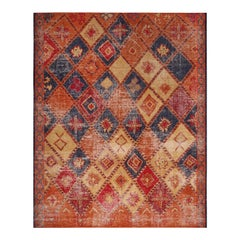 Rug & Kilim's Orange, Red and Blue Wool Rug from the Homage