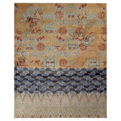 Rug & Kilim's Oriental Style Dragon Rug in Distressed Gold and Blue