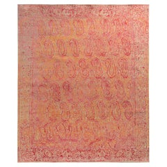 Rug & Kilim's Paisley Style Transitional Rug in Red, Orange, Pink Floral Pattern