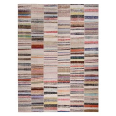 Rug & Kilim's Patchwork Beige and Multi-Color Wool Kilim Rug