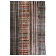Rug & Kilim's Patchwork Kilim Rug in Beige-Brown Multicolor Stripe Patterns